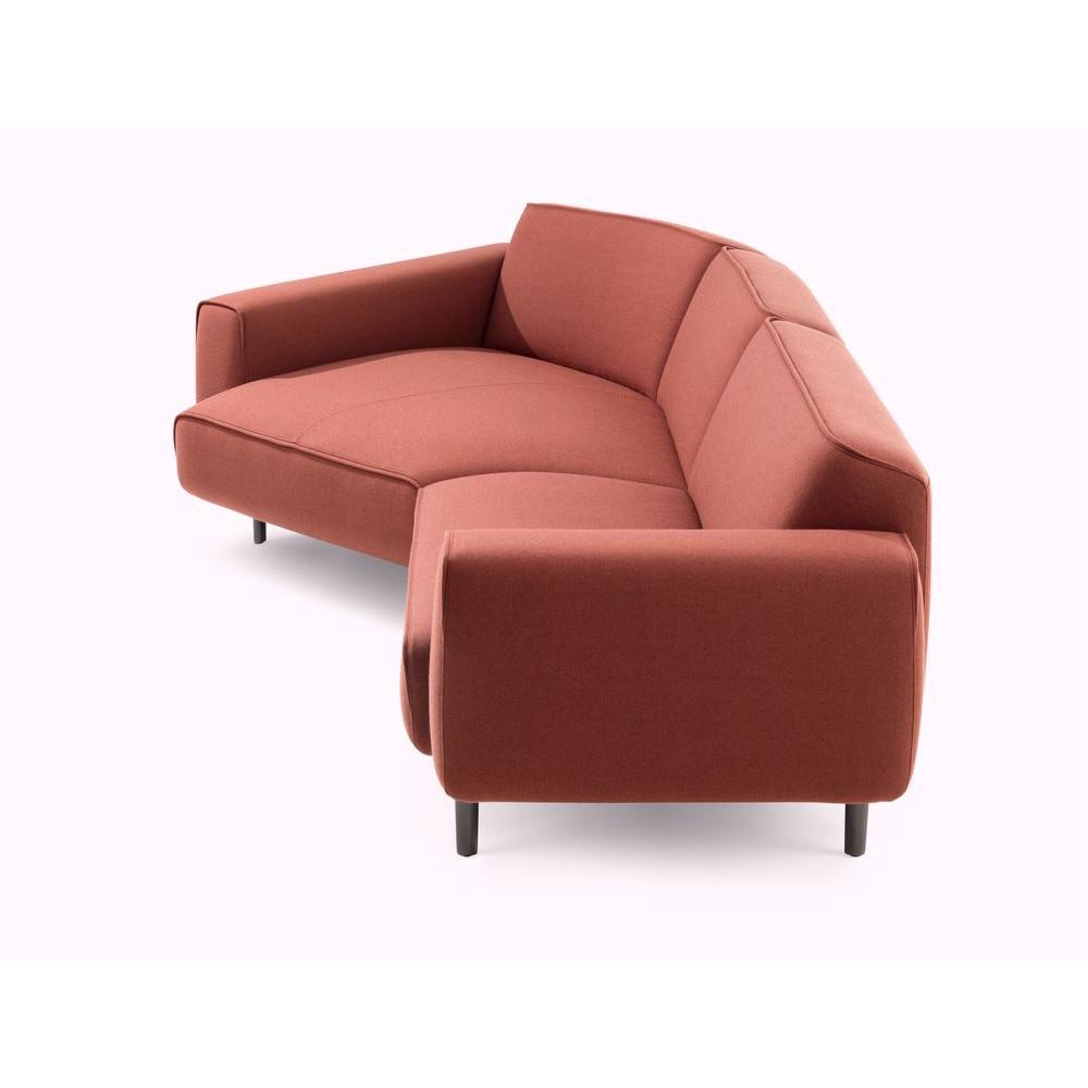 seitliche Ansicht des Sofa Melloo von Pode in rostrot