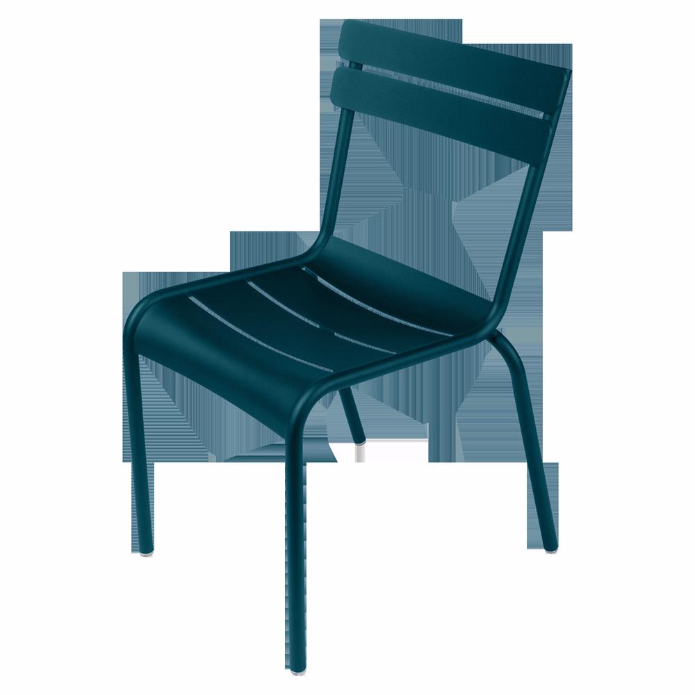 Stapelbarer Stuhl Luxembourg aus Aluminium von Fermob in Acapulcoblau