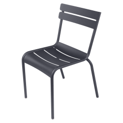 Stapelbarer Stuhl Luxembourg aus Aluminium von Fermob in Anthrazit/Schwarz